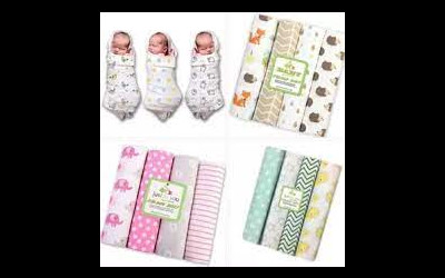 4 Pieces 100% Cotton Baby Blankets Newborn Bedding Set Infant Cot Crib Sheet Swaddle Towel Multi Functions Baby Wrap